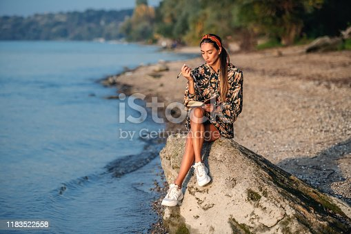 891402486 istock photo Portrait of pensive attractive caucasian brunette in floral dress and with headband sitting on rock on shore next to river and writing diary. 1183522558