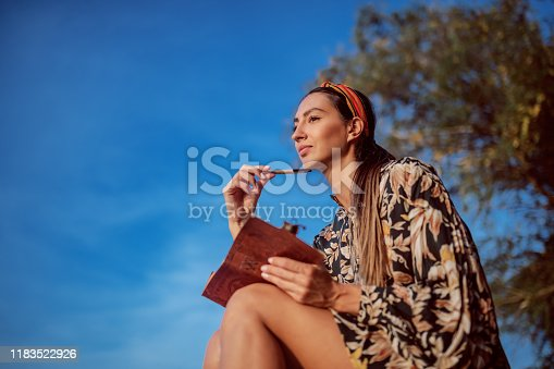 891402486 istock photo Portrait of pensive attractive caucasian brunette in floral dress and with headband sitting on rock on shore next to river and writing diary. 1183522926
