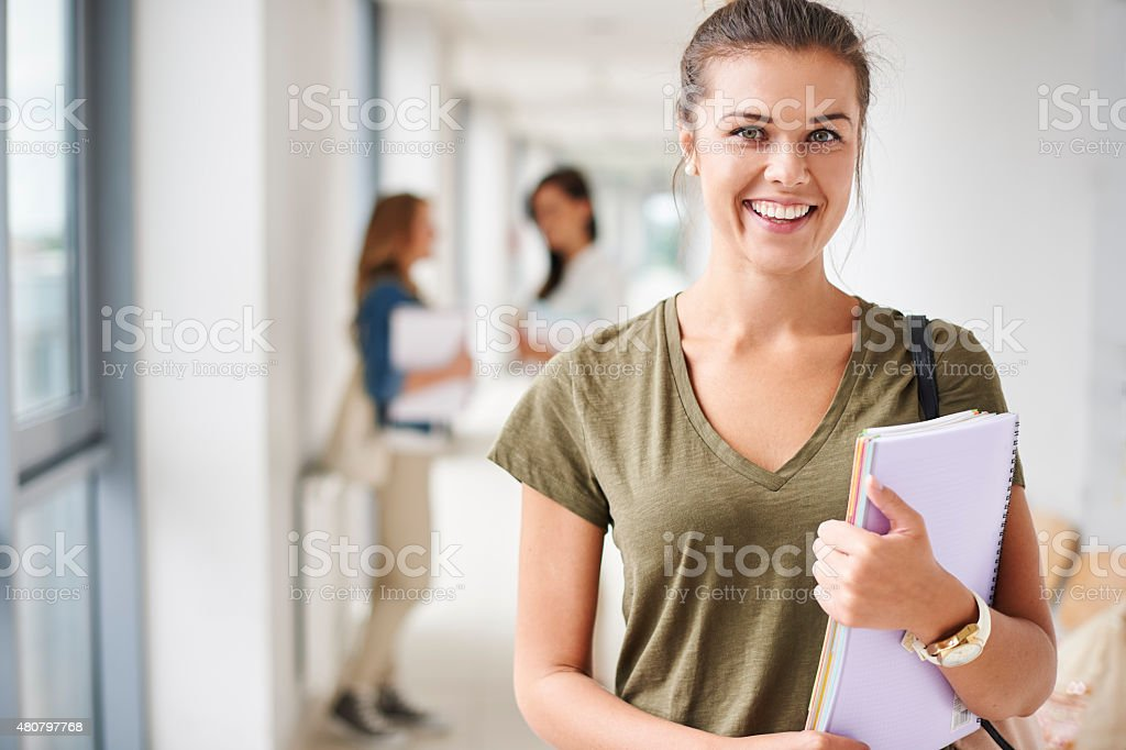 Portrait of perfect student at the university stock photo