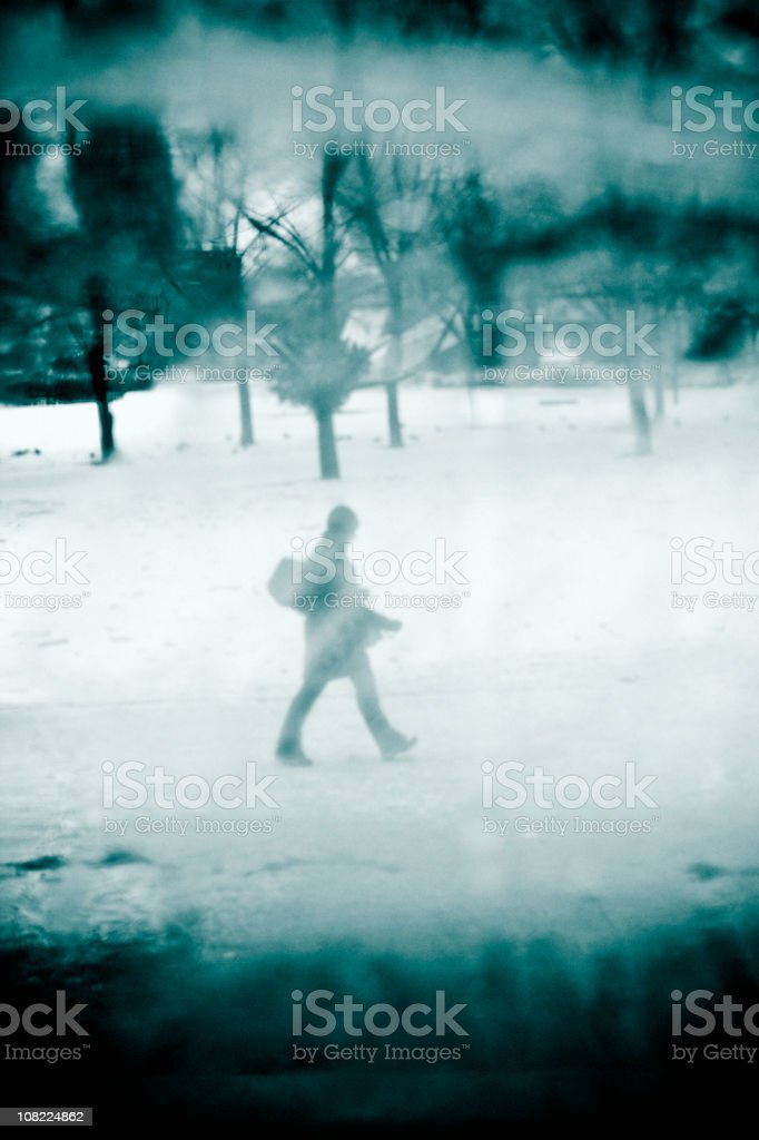 Portrait of Person Walking During Winter Day royalty-free stock photo