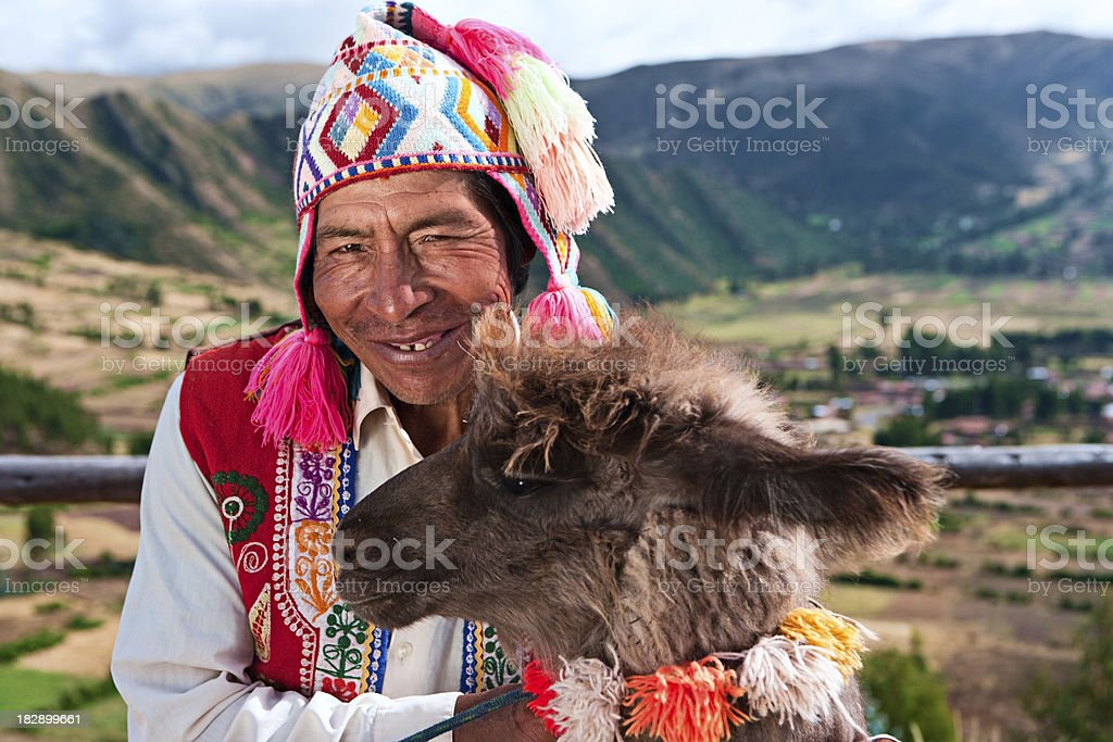 Portrait of Peruvian man near Pisac, Sacred Valley, Peru stock photo