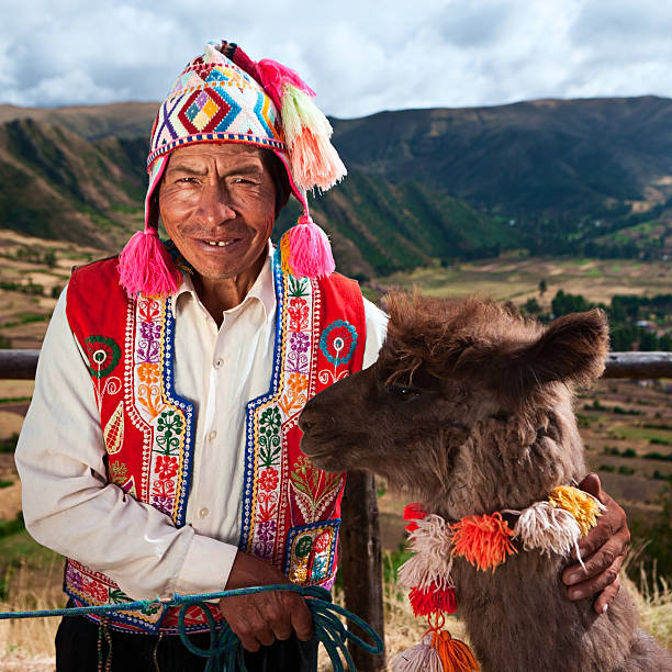 portrait of peruvian man near pisac, sacred valley, peru - peruvian ethnicity stock pictures, royalty-free photos & images