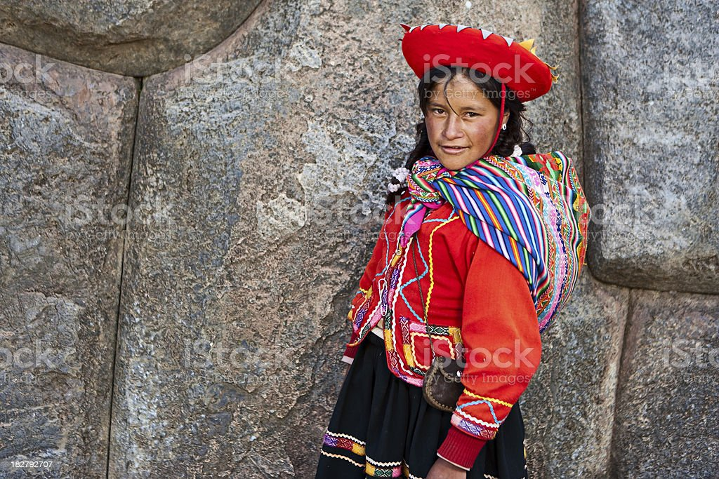 Portrait of Peruvian woman in national costume, Sacsayhuaman stock photo