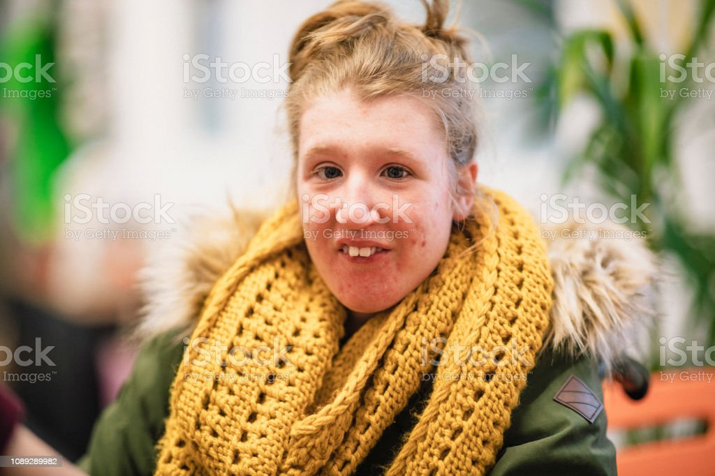 Portrait of Physically Impaired Girl stock photo
