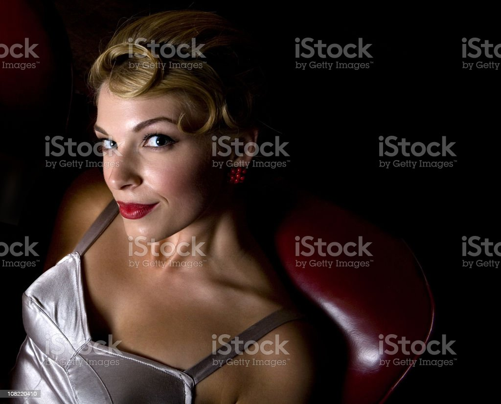 Portrait of Pin-Up Style Young Woman royalty-free stock photo
