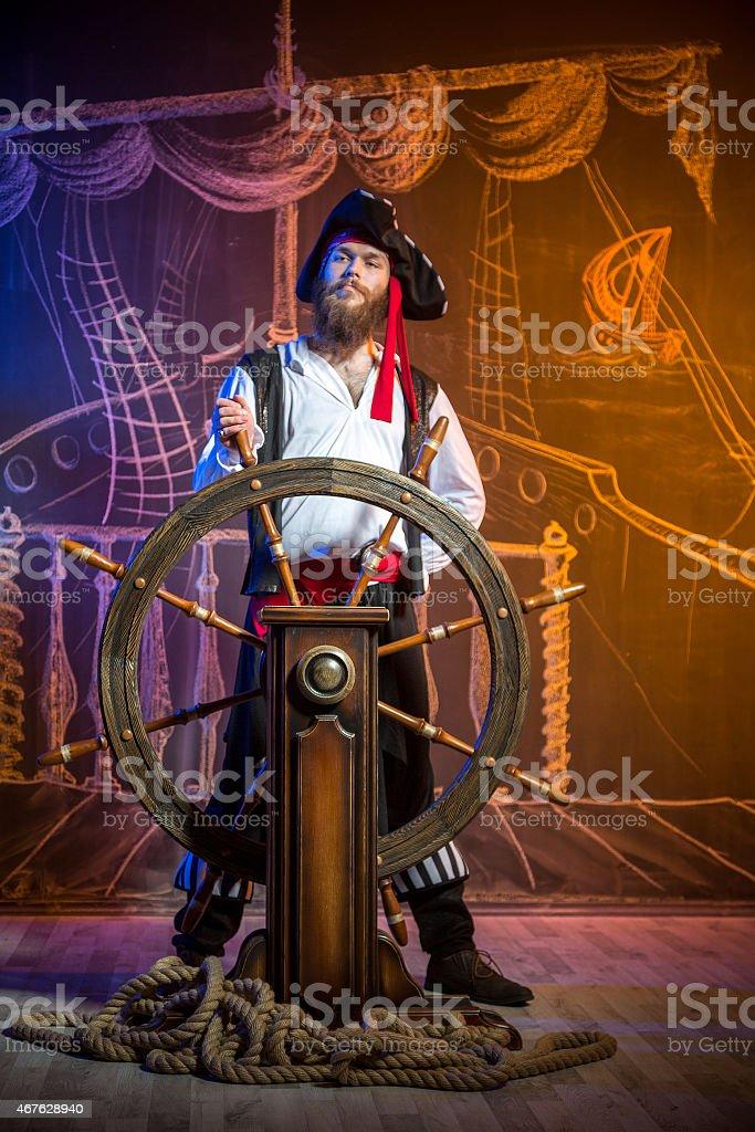 Retrato de pirata capitán - foto de stock