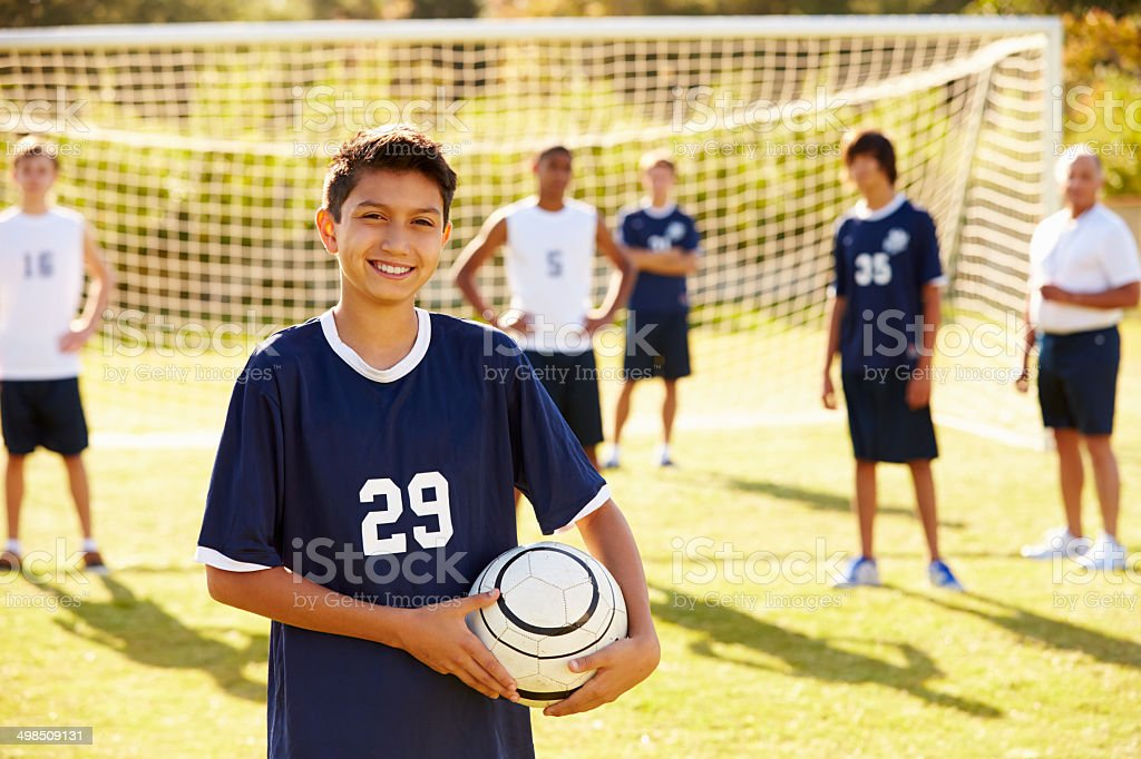 Portrait Of Player In High School Soccer Team stock photo