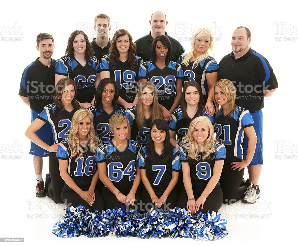 Portrait of players and cheerleaders stock photo