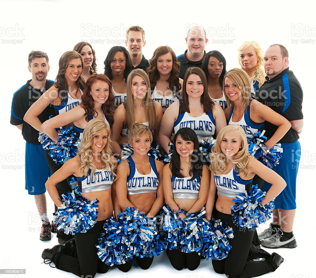 Portrait Of Players With Cheerleader Girls stock photo