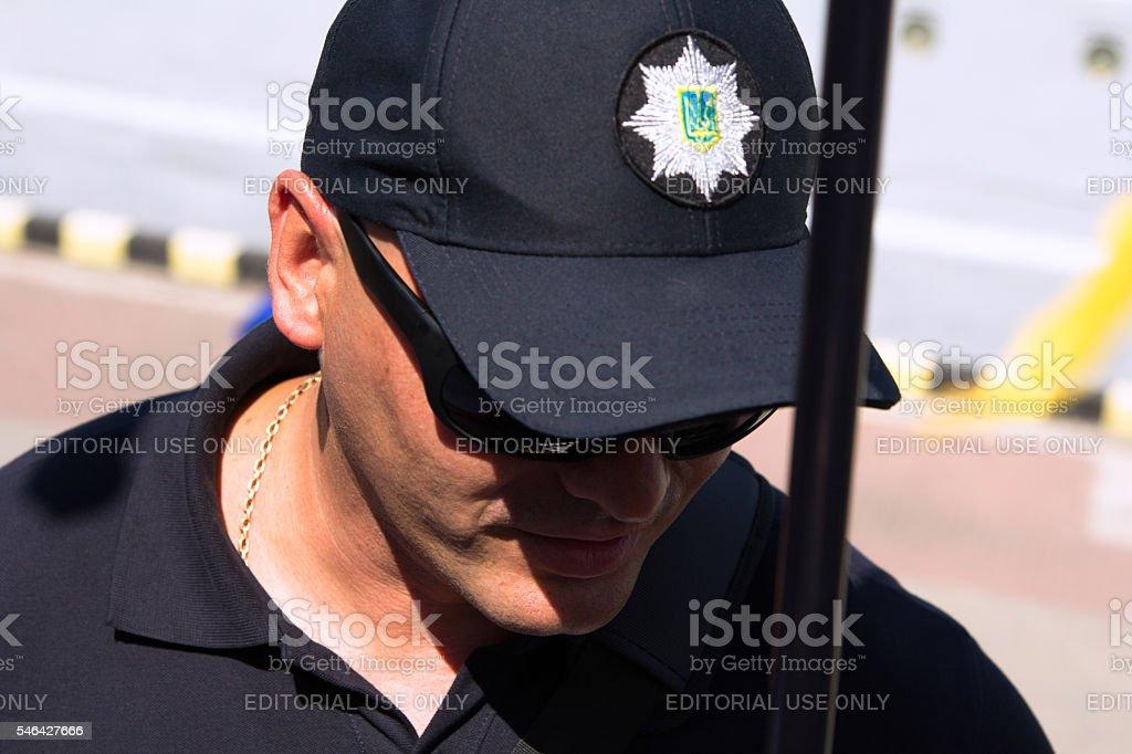 Odesa, Ukraine - July 03, 2016: Portrait of Plice officer stock photo