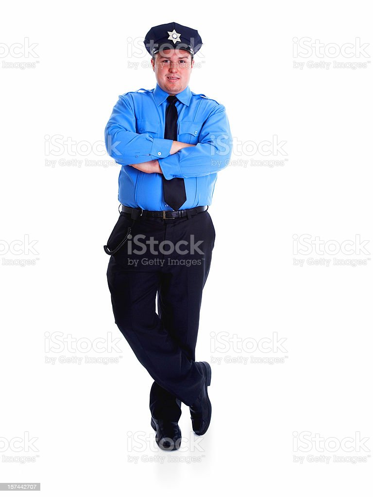 Portrait of police officer standing on white background royalty-free stock photo