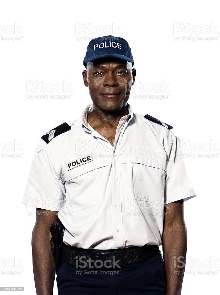 Portrait of policeman in studio stock photo