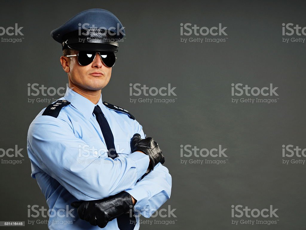 Portrait of policeman stock photo