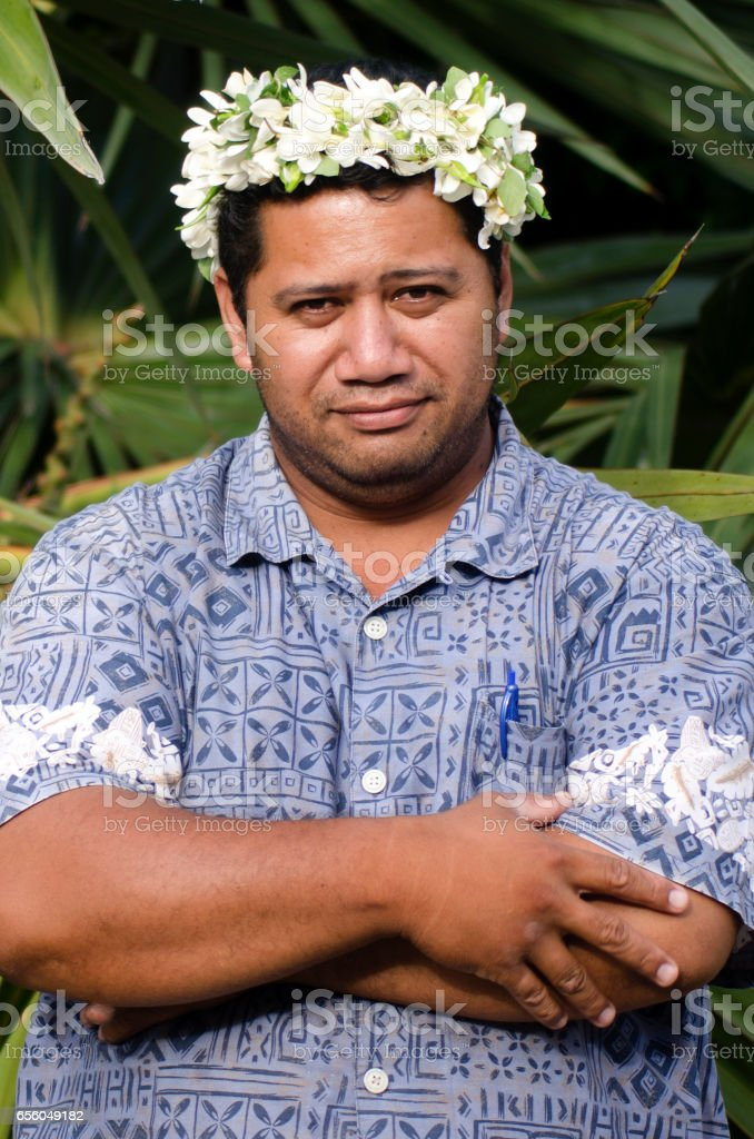 Portrait of Polynesian Pacific Island Tahitian mature man Aitutaki Lagoon Cook Islands stock photo
