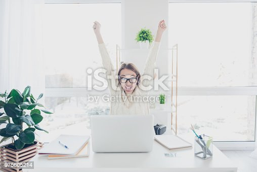 istock Portrait of positive glad woman holding hands up yelling looking at screen of laptop celebrating achievement successfully completed job project presentation 975605214