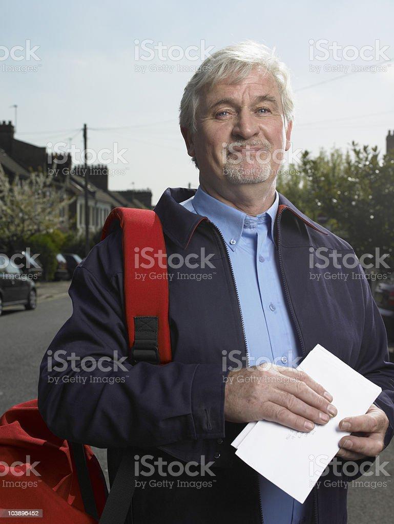 Portrait of postman stock photo