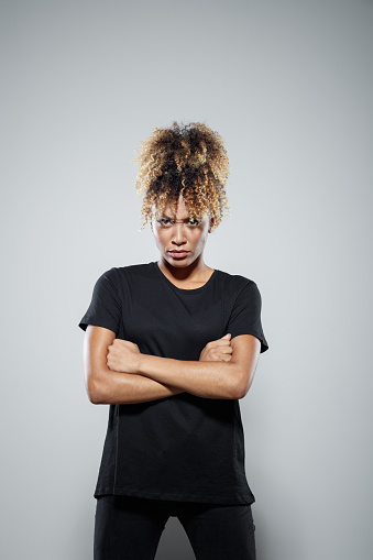 Portrait Of Powerul Angry Young Woman Stock Photo - Download Image Now