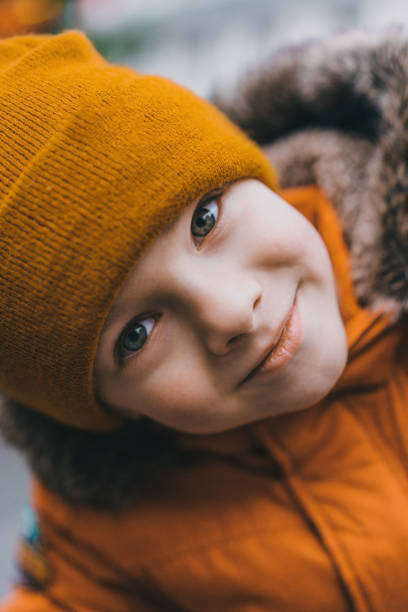 Portrait of preschool boy stock photo