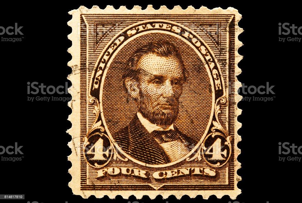Portrait of President Abraham Lincoln Postal Issue stock photo