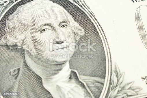 Portrait of President George Washington on 1 dollar bill. Close up.