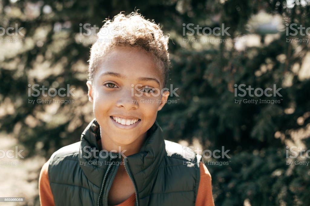 Portrait of pre-teen boy stock photo