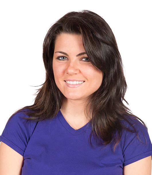 Portrait of pretty brunette woman casual stock photo