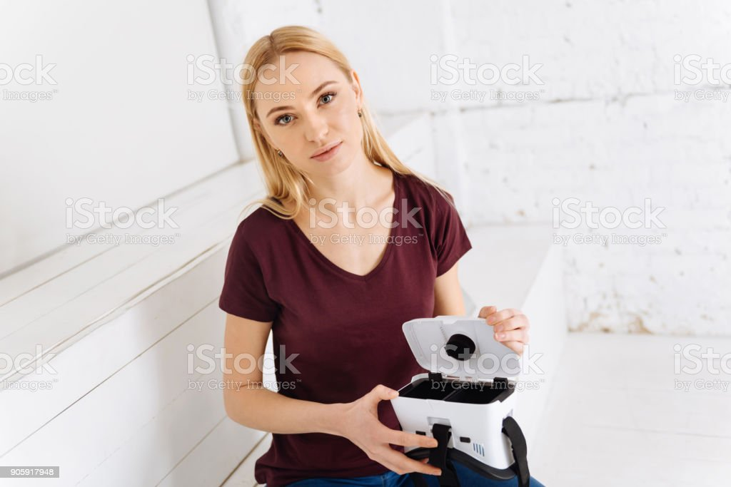 Portrait of pretty girl that posing on camera stock photo