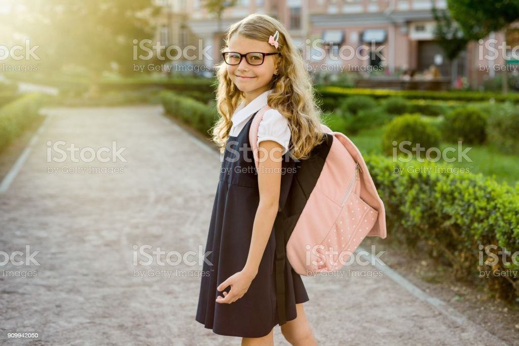 Portrait of pretty student on the way to school royalty-free stock photo