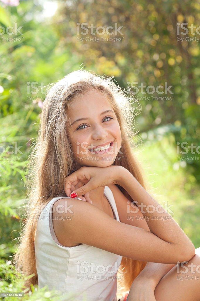 13 Pretty Teen With College: Portrait Of Pretty Teenage Girl Sitting Smiling Enjoying