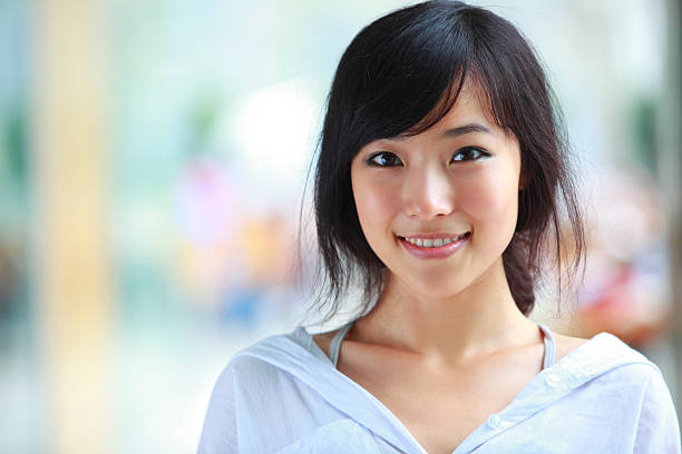 portrait of pretty young asian girl stock photo