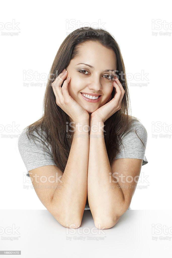 Portrait of pretty young brunette woman stock photo