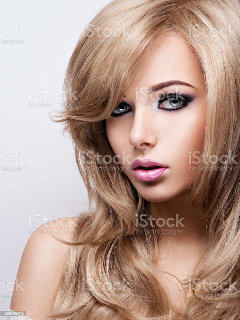 Portrait of pretty young woman with bright makeup. Beautiful  br stock photo