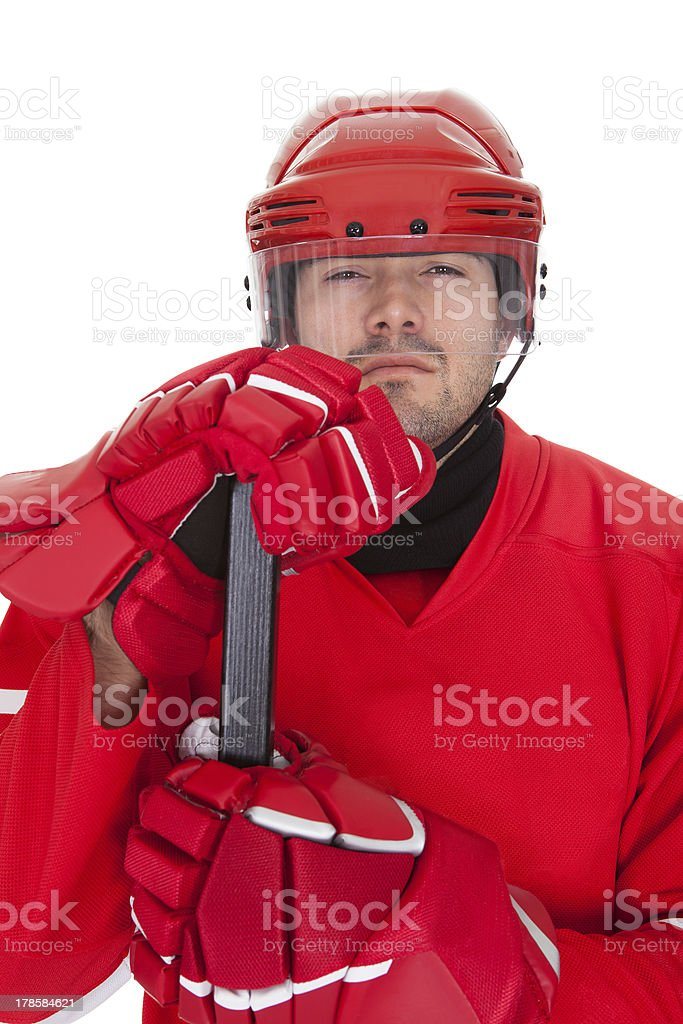 Portrait of professional hockey player royalty-free stock photo