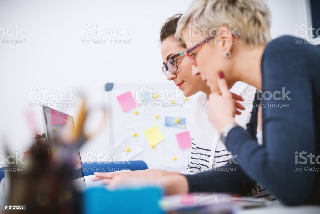Portrait of professional middle aged women working together on projects in the office. stock photo