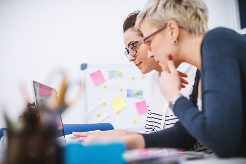Portrait Of Professional Middle Aged Women Working Together On Projects In The Office Stock Photo - Download Image Now