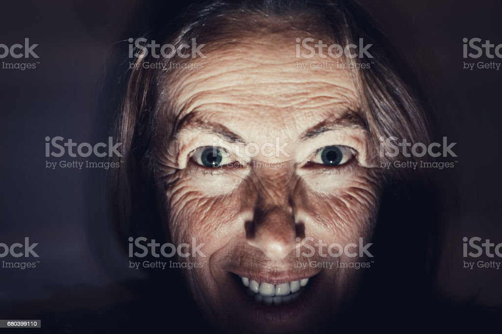Portrait of Psychopath Woman stock photo