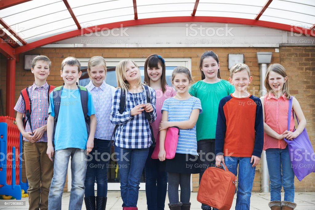 Portrait Of Pupils In School Playground stock photo