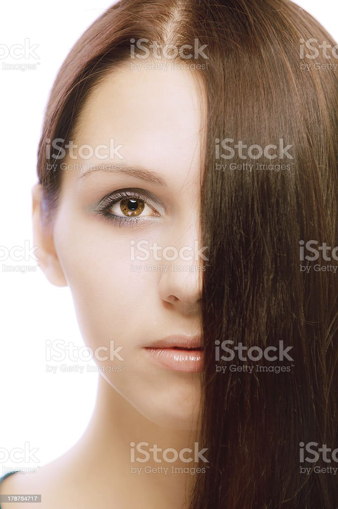 Portrait of quiet girl close up royalty-free stock photo