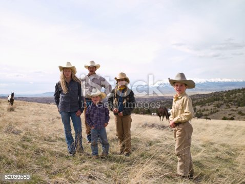 Montana ranch family portrait taken on family property in Big Timber, Montana