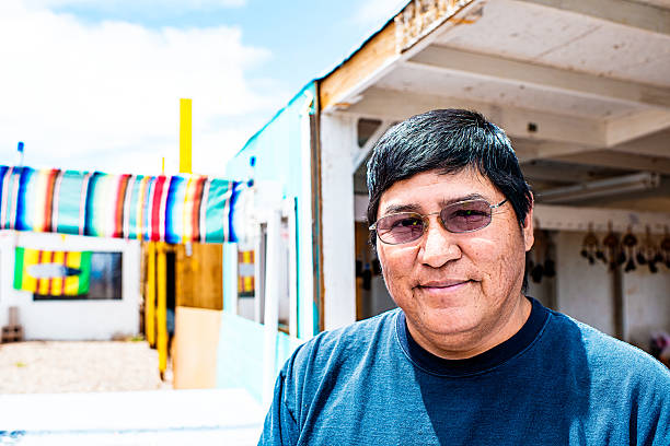 portrait of real navajo man - native american reservation stock photos and pictures