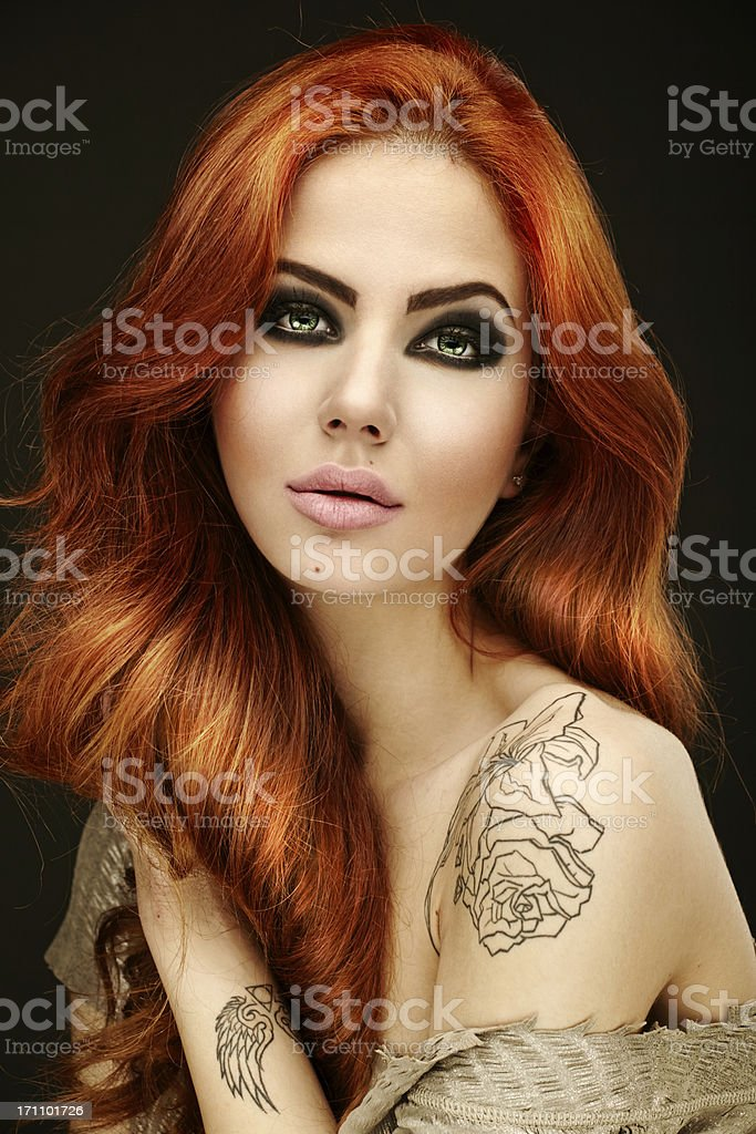 Portrait of red hair woman stock photo