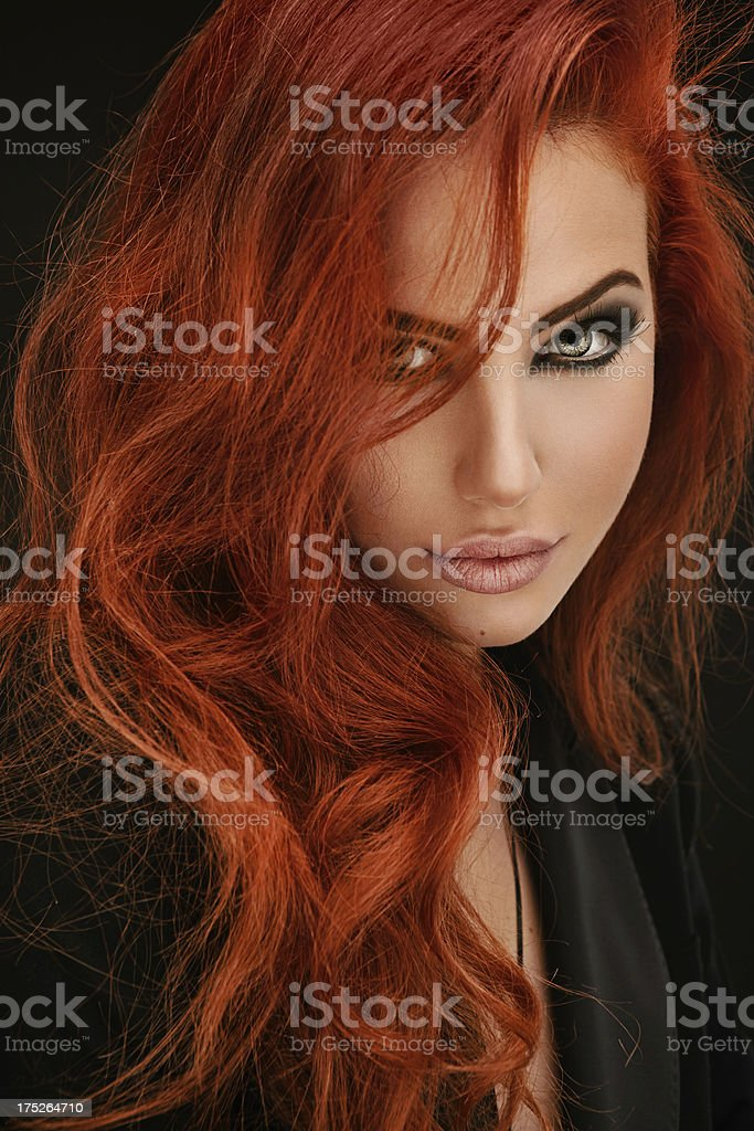 Portrait of red haired woman stock photo