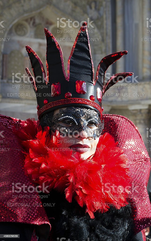 Portrait of red queen mask at Carnival in Venice 2013 royalty-free stock photo