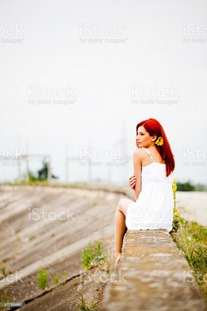 Portrait of redhead girl stock photo