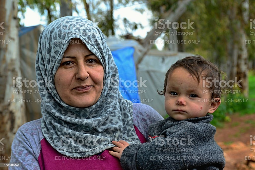 portrait of refugees stock photo