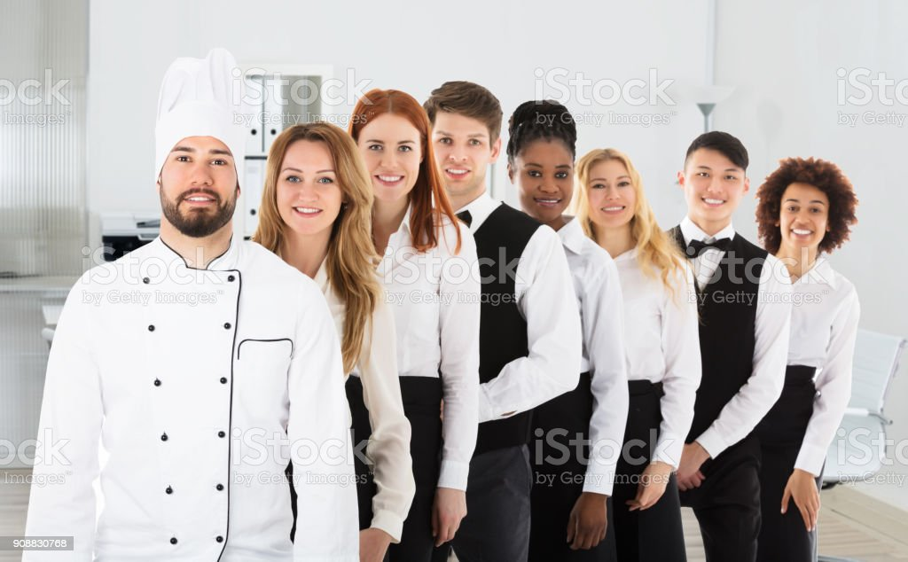Portrait Of Restaurant Staff stock photo