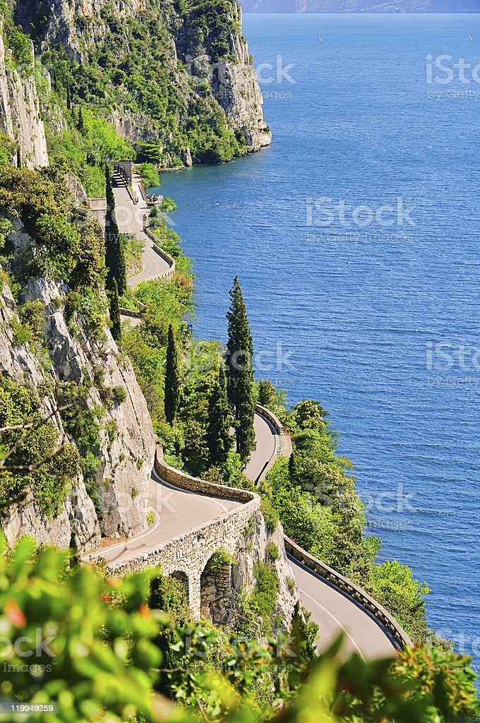 Portrait of roads winding along shore of Lake Garda royalty-free stock photo