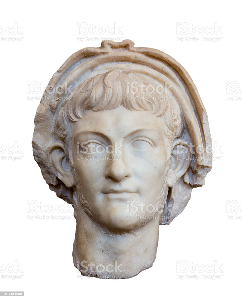 Portrait of Roman emperor Nero (Reign 54-68 AD), isolated stock photo