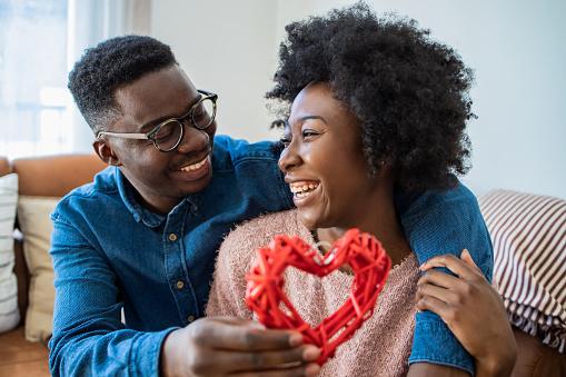 Portrait of romantic African American couple