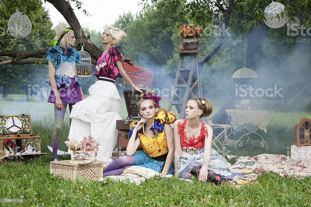 Portrait of romantic women in fairy forest stock photo